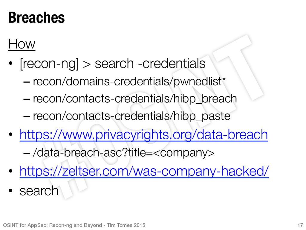 Breaches How • [recon-ng] > search -credenti...