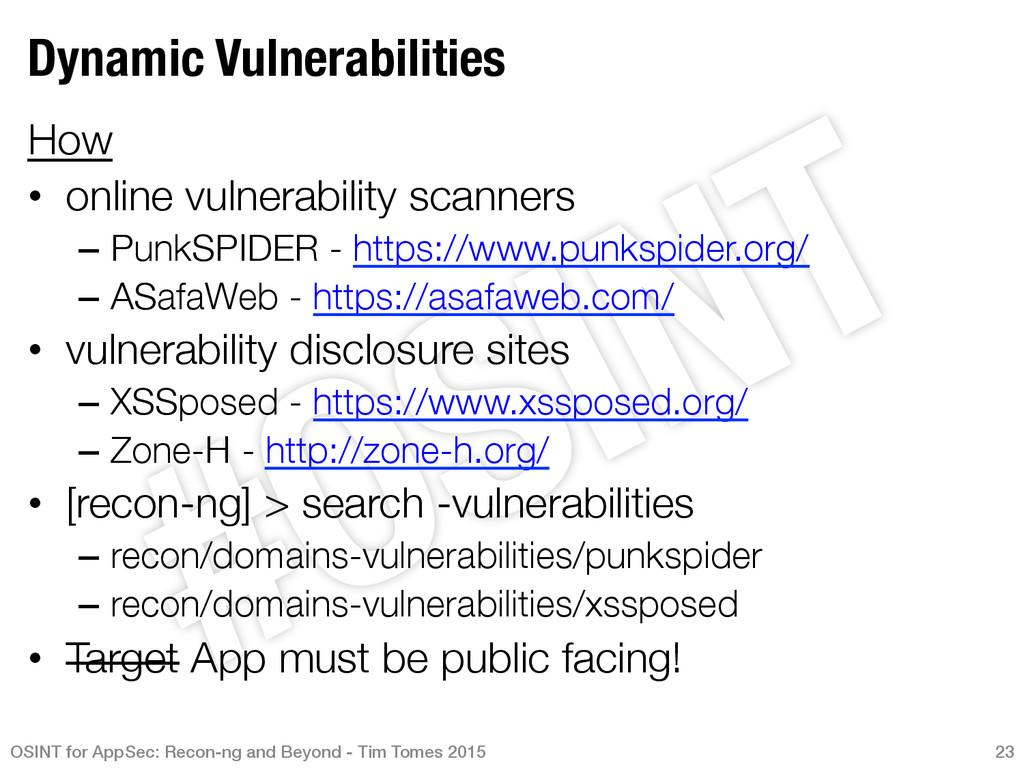 Dynamic Vulnerabilities How • online vulnera...