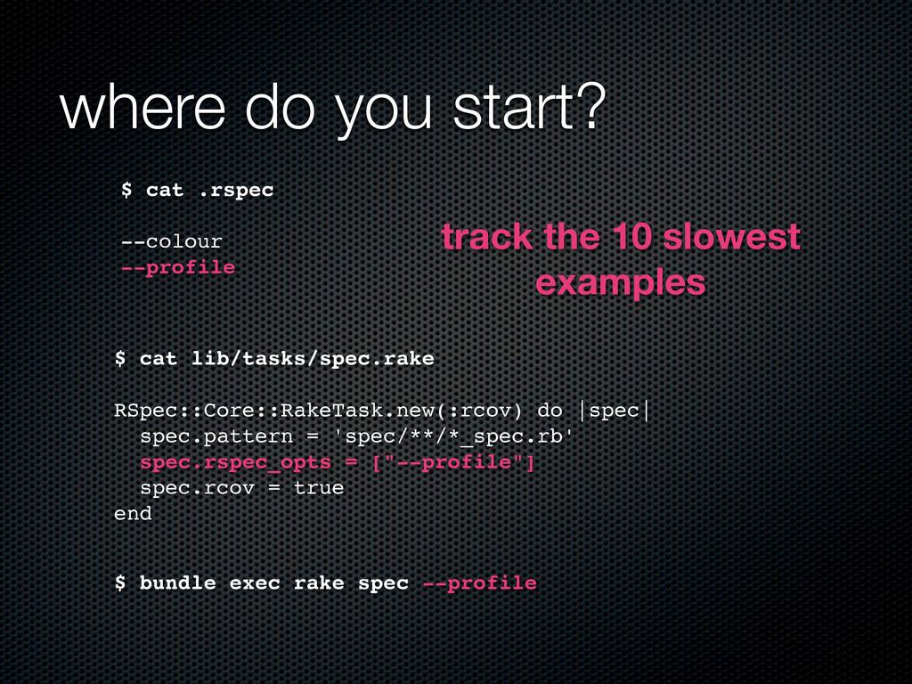 where do you start? $ cat .rspec --colour --pro...
