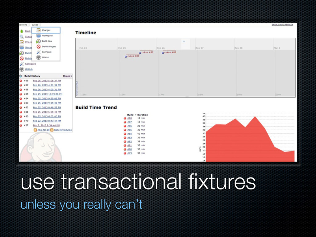 use transactional fixtures unless you really can...