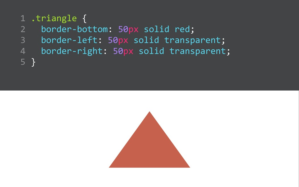 .triangle {    border-‐bottom: 50px soli...