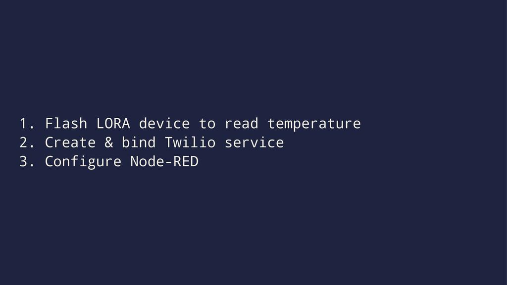 1. Flash LORA device to read temperature 2. Cre...