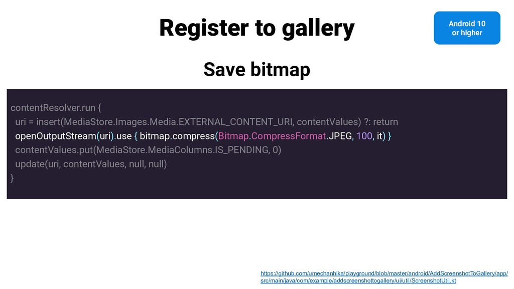 Register to gallery Save bitmap contentResolver...