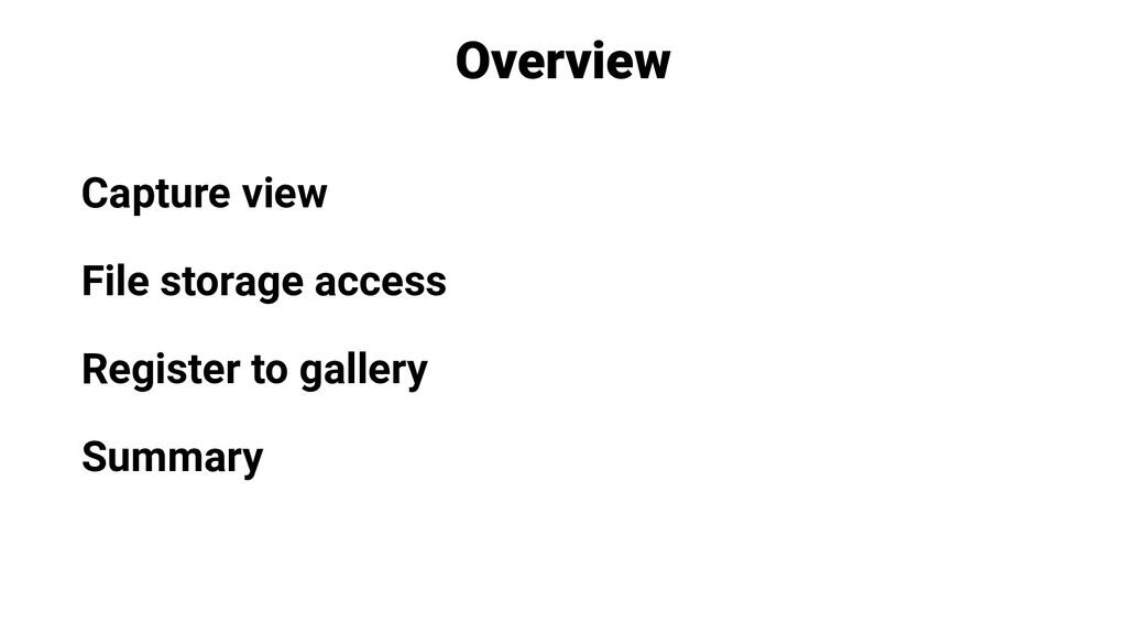 Overview Capture view File storage access Regis...