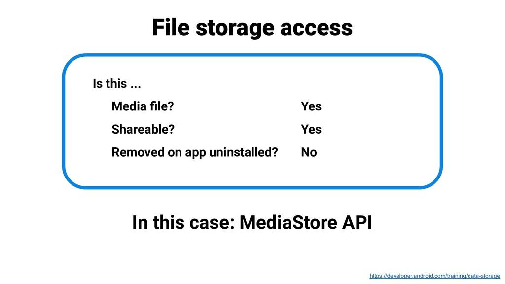 File storage access In this case: MediaStore AP...