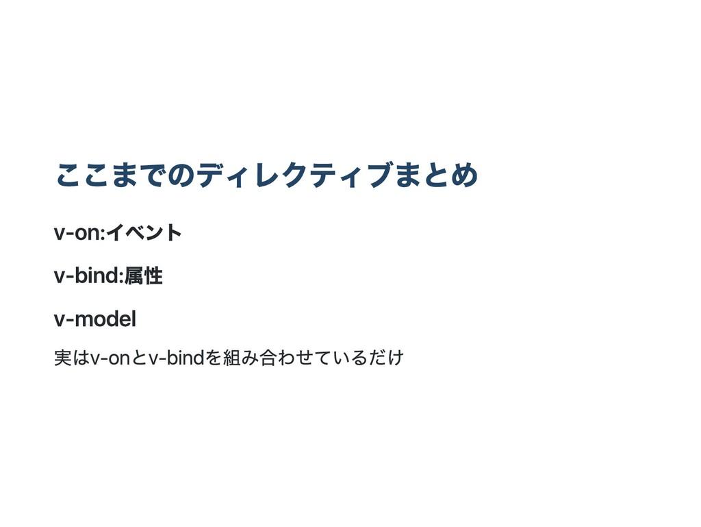 ここまでのディレクティブまとめ v‑on:イベント v‑bind:属性 v‑model 実はv...
