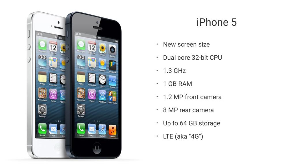 iPhone 5 • New screen size • Dual core 32-bit C...