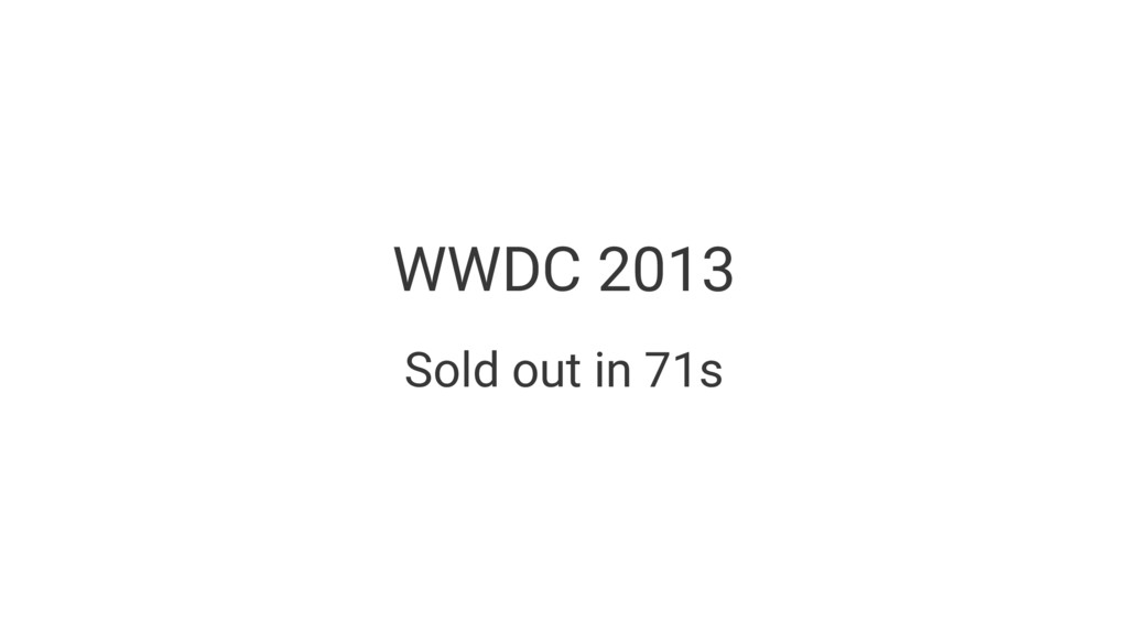 WWDC 2013 Sold out in 71s