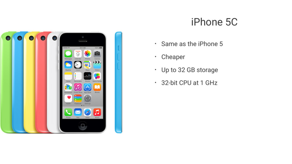 iPhone 5C • Same as the iPhone 5 • Cheaper • Up...