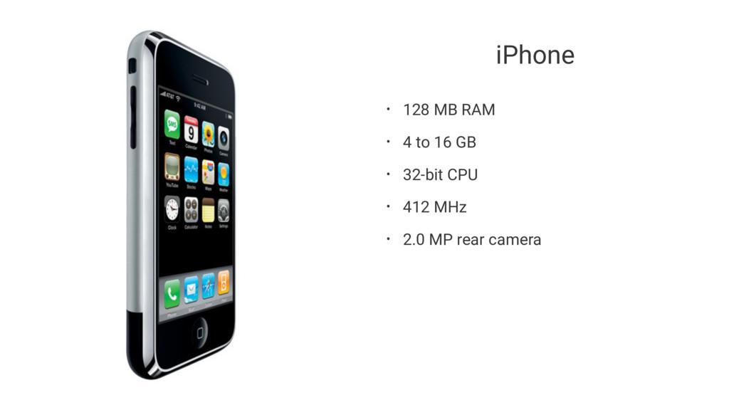 iPhone • 128 MB RAM • 4 to 16 GB • 32-bit CPU •...