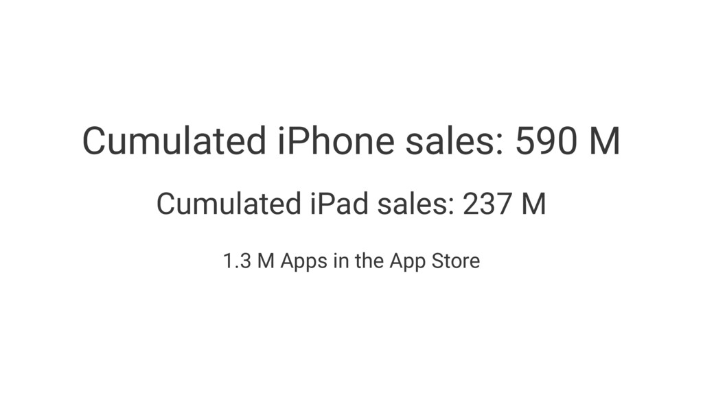 Cumulated iPhone sales: 590 M Cumulated iPad sa...