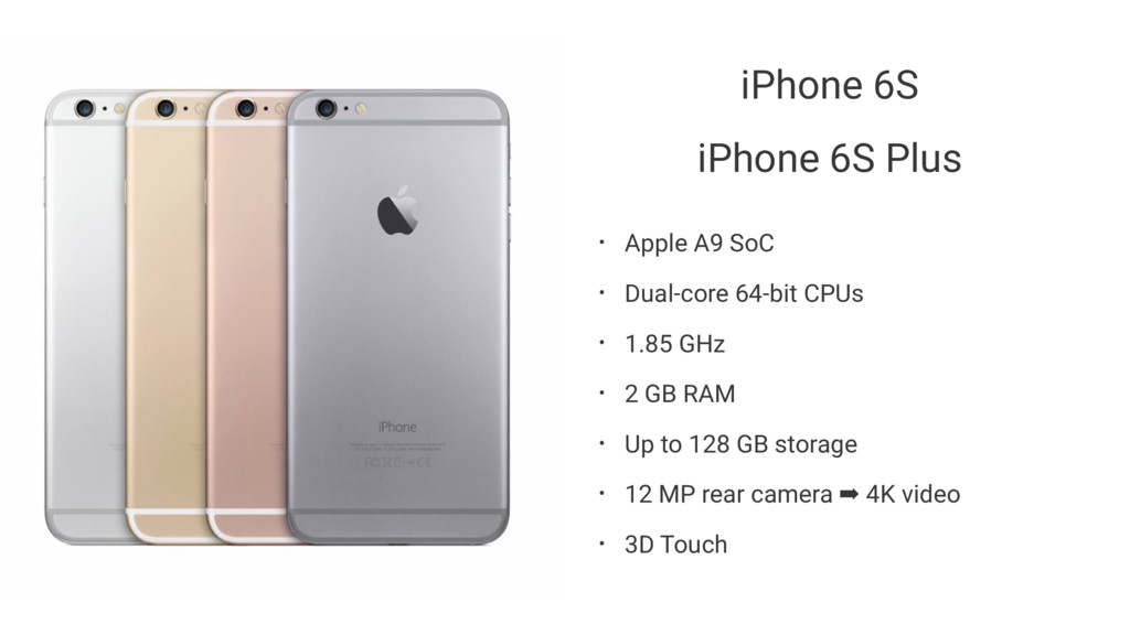 iPhone 6S iPhone 6S Plus • Apple A9 SoC • Dual-...
