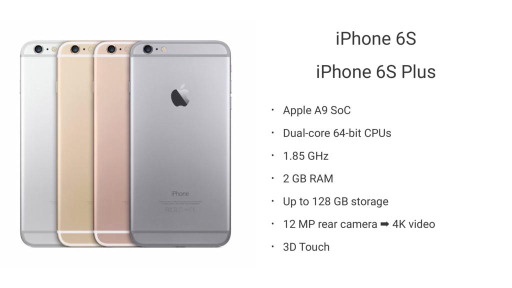iPhone 6S iPhone 6S Plus • Apple A9 SoC • Dual-...