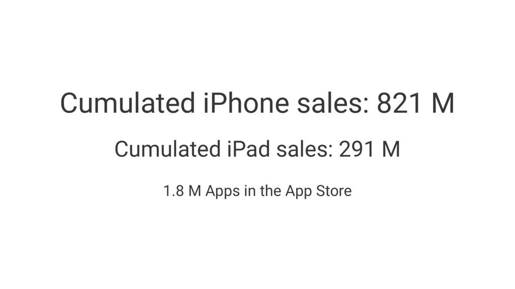 Cumulated iPhone sales: 821 M Cumulated iPad sa...