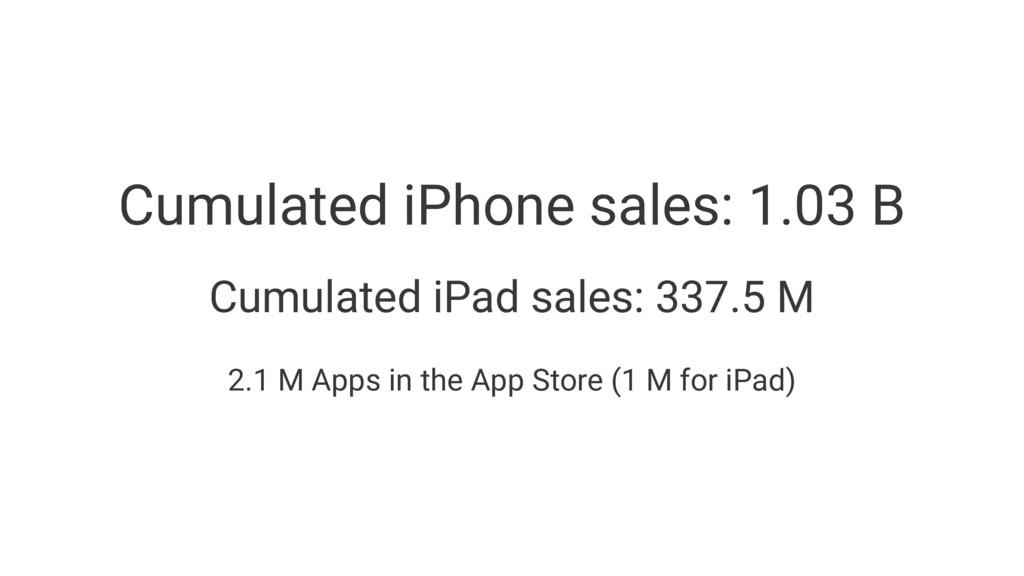 Cumulated iPhone sales: 1.03 B Cumulated iPad s...