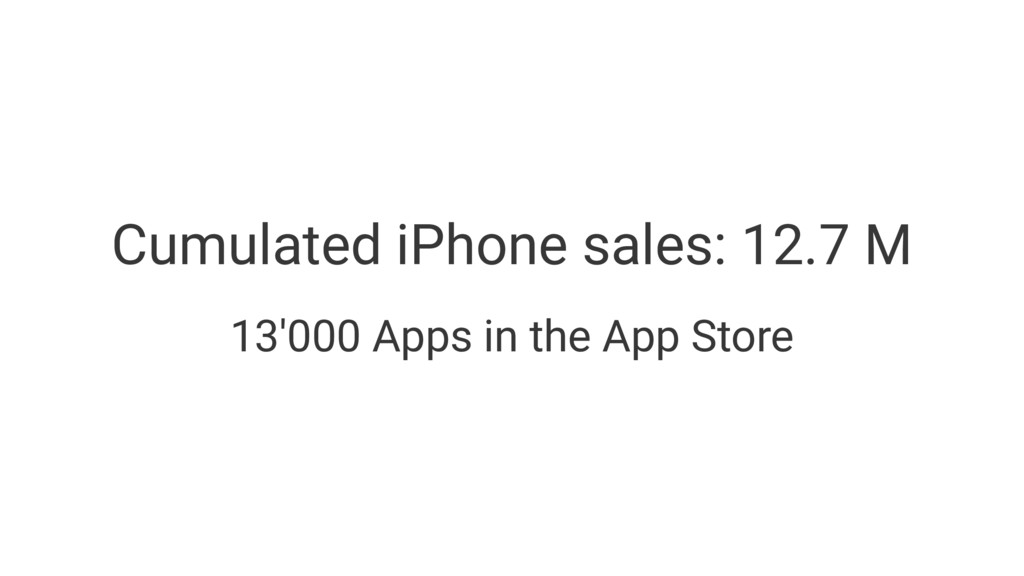 Cumulated iPhone sales: 12.7 M 13'000 Apps in t...