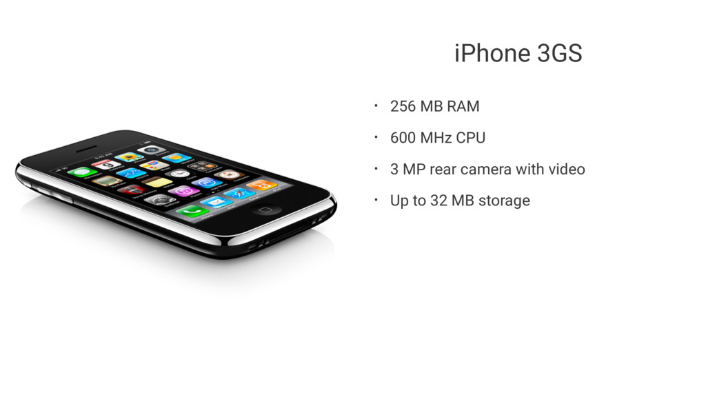 iPhone 3GS • 256 MB RAM • 600 MHz CPU • 3 MP re...