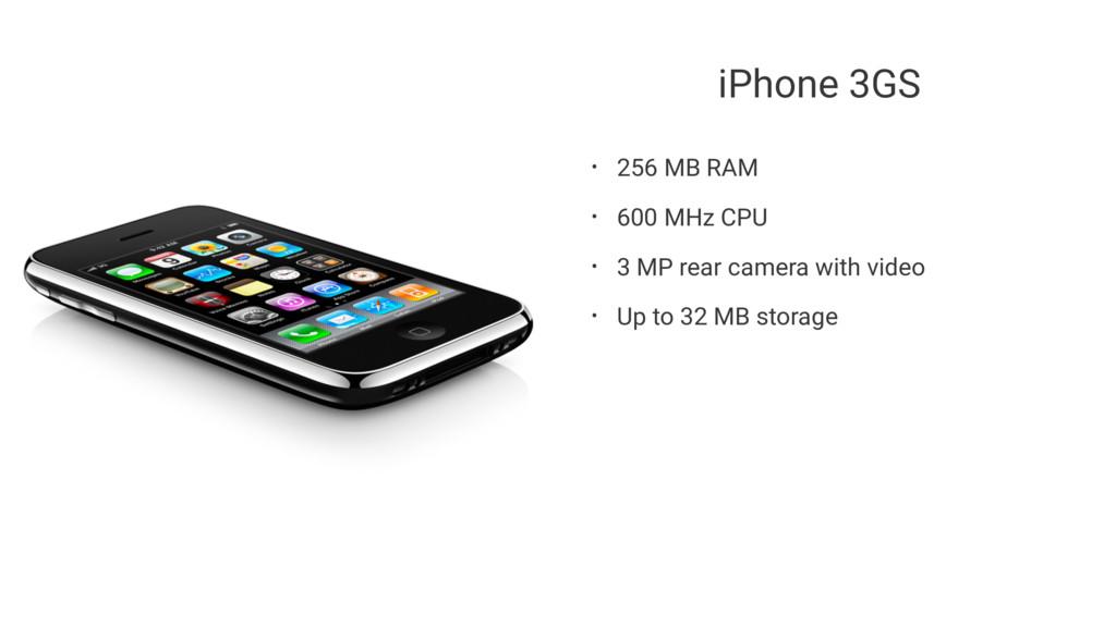 iPhone 3GS • 256 MB RAM • 600 MHz CPU • 3 MP re...