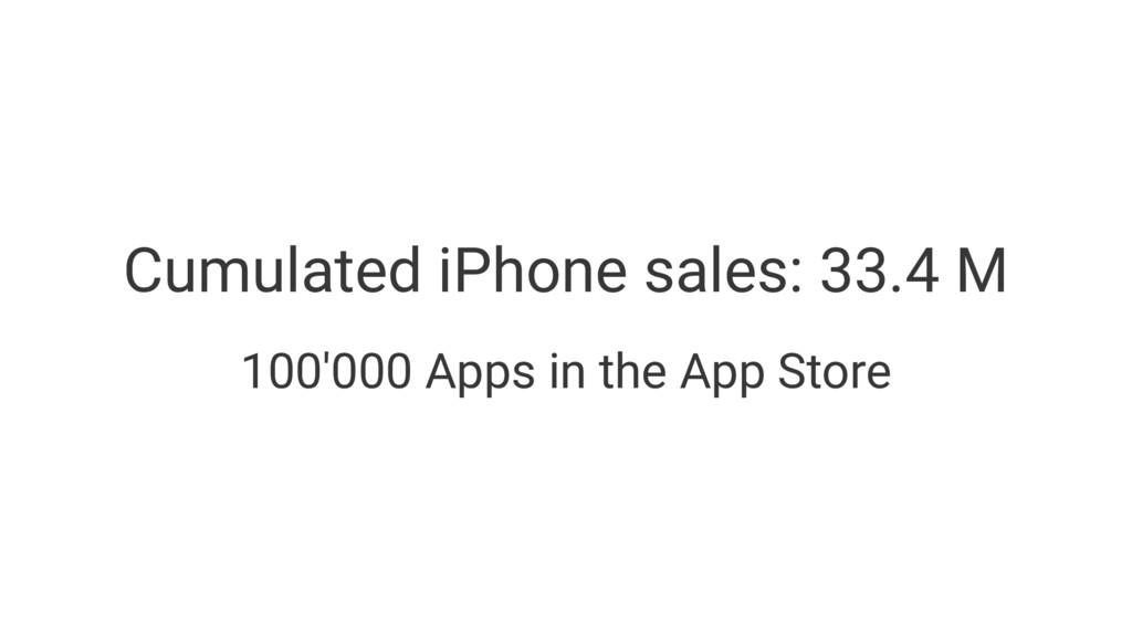 Cumulated iPhone sales: 33.4 M 100'000 Apps in ...
