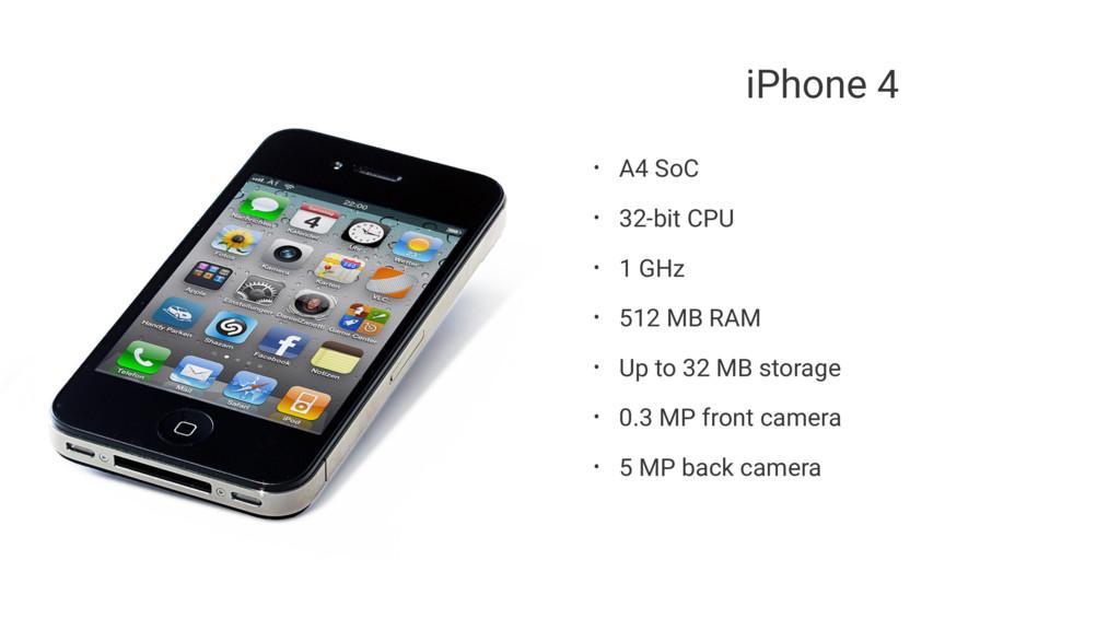 iPhone 4 • A4 SoC • 32-bit CPU • 1 GHz • 512 MB...