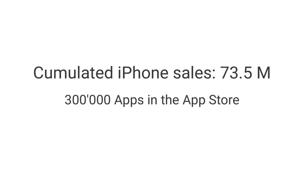 Cumulated iPhone sales: 73.5 M 300'000 Apps in ...