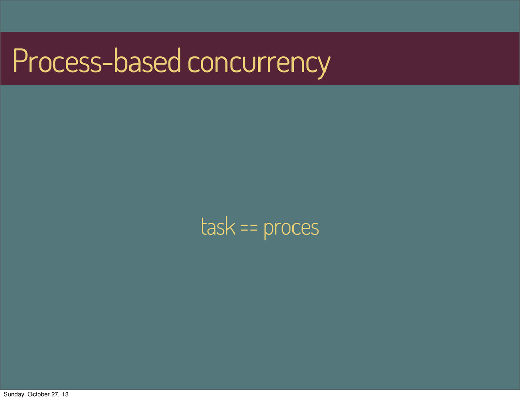 Process-based concurrency task == proces Sunday...