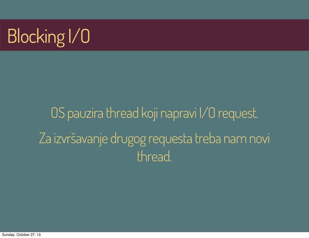 Blocking I/O OS pauzira thread koji napravi I/O...