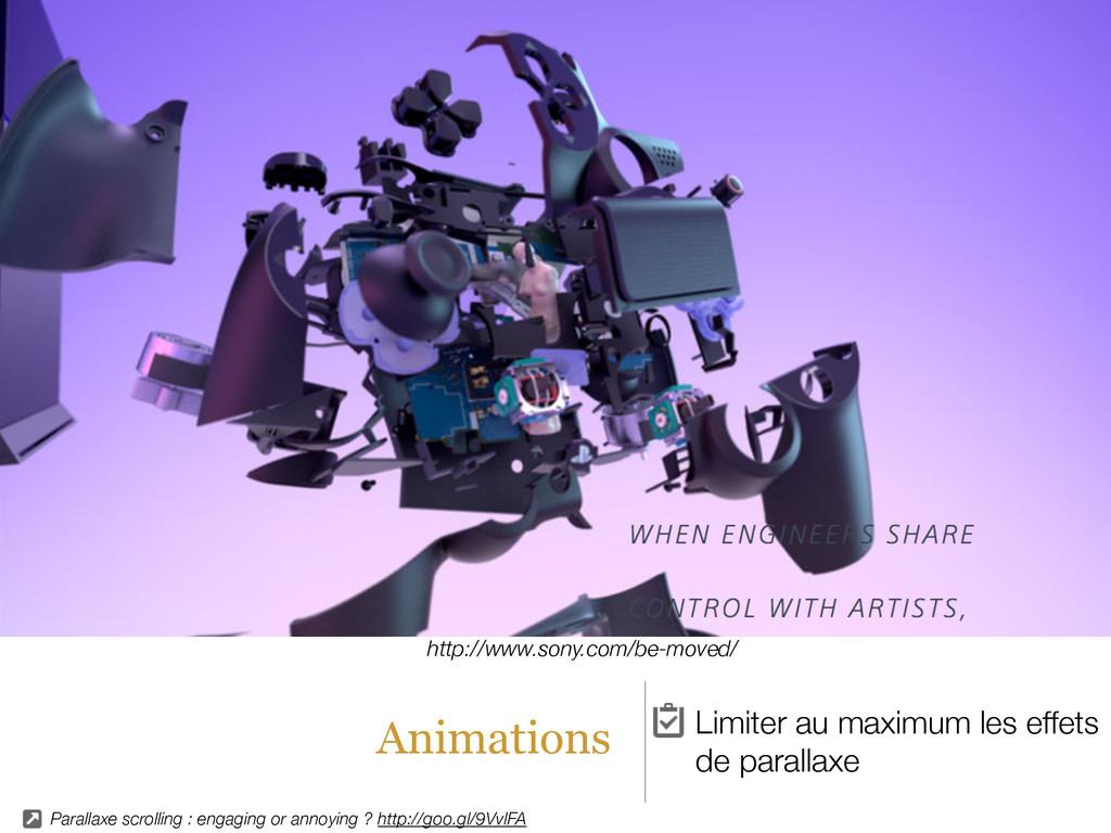 Animations Limiter au maximum les effets de par...