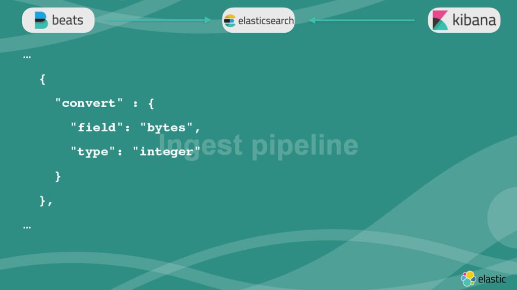 "‹#› Ingest pipeline … { ""convert"" : { ""field"": ..."