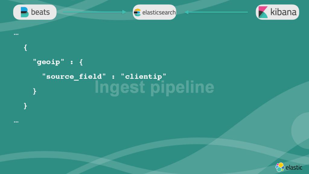 """‹#› Ingest pipeline … { """"geoip"""" : { """"source_fie..."""
