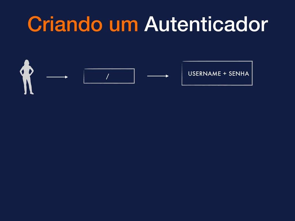 Criando um Autenticador / USERNAME + SENHA