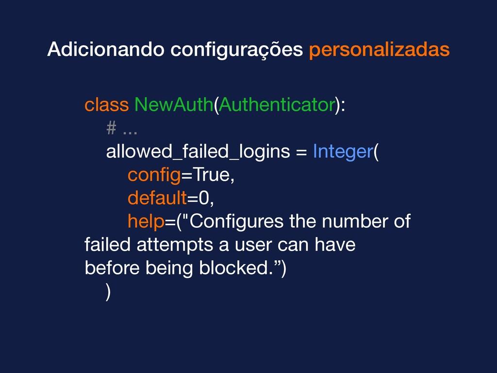 Adicionando configurações personalizadas class N...