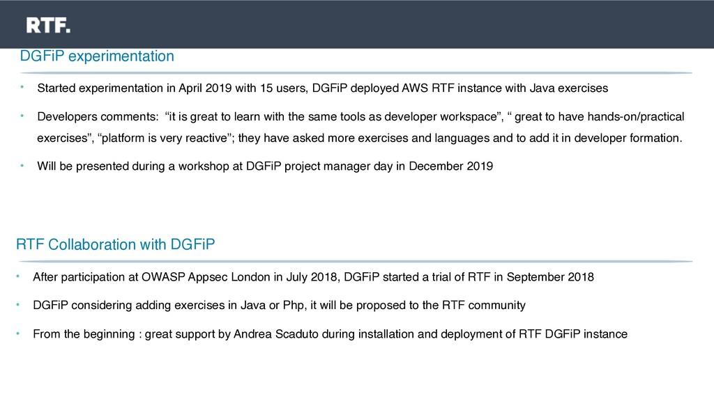 DGFiP experimentation • Started experimentation...