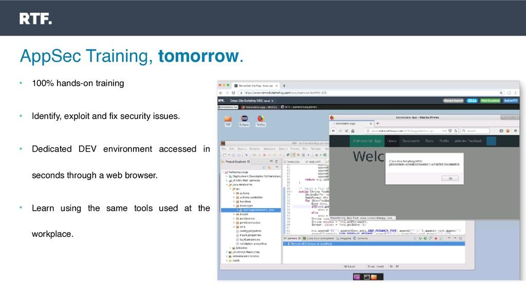 AppSec Training, tomorrow. • 100% hands-on trai...
