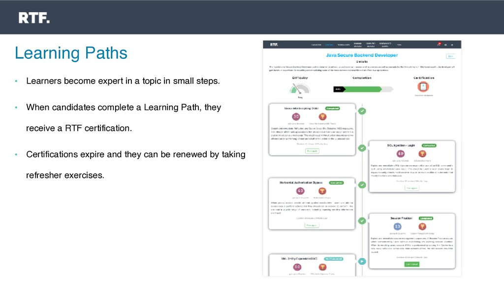 Learning Paths • Learners become expert in a to...
