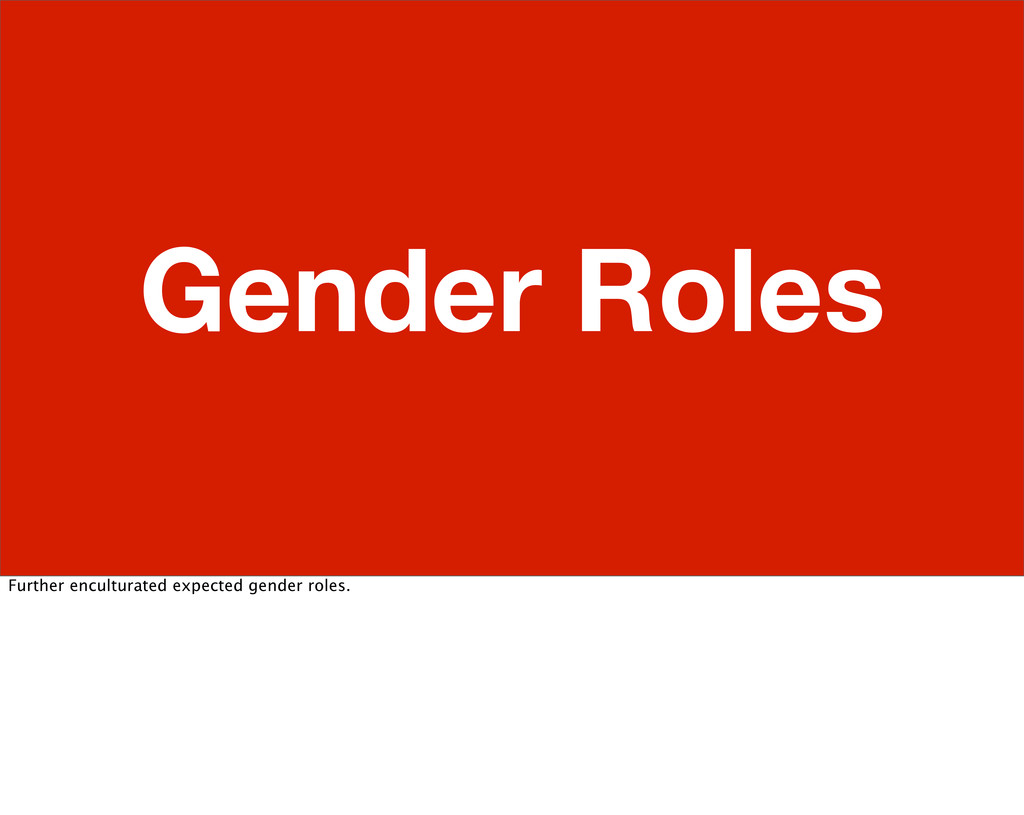 Gender Roles Further enculturated expected gend...