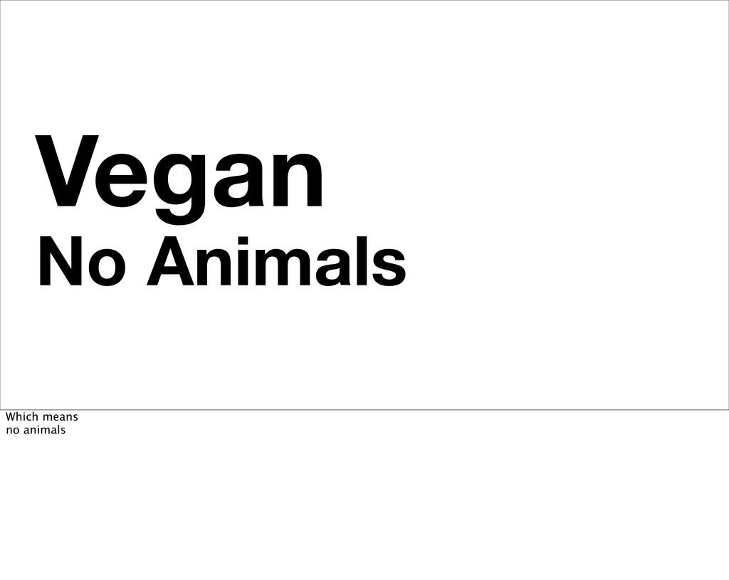 Vegan No Animals Which means no animals