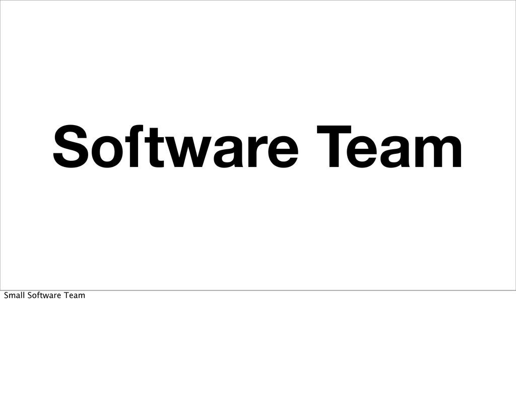 Soſtware Team Small Software Team