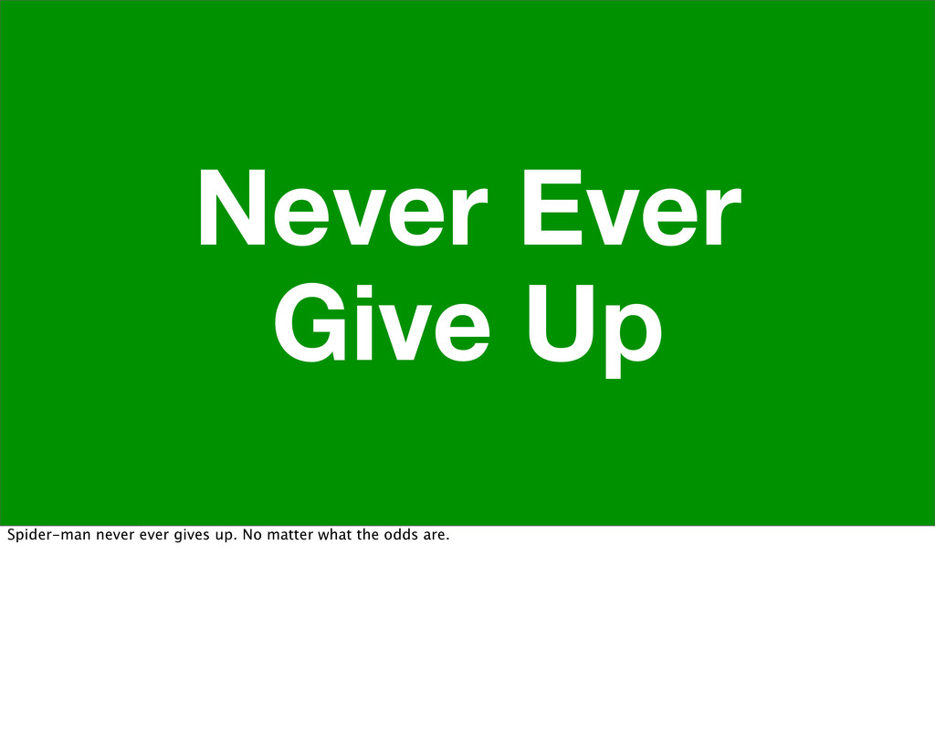 Never Ever Give Up Spider-man never ever gives ...