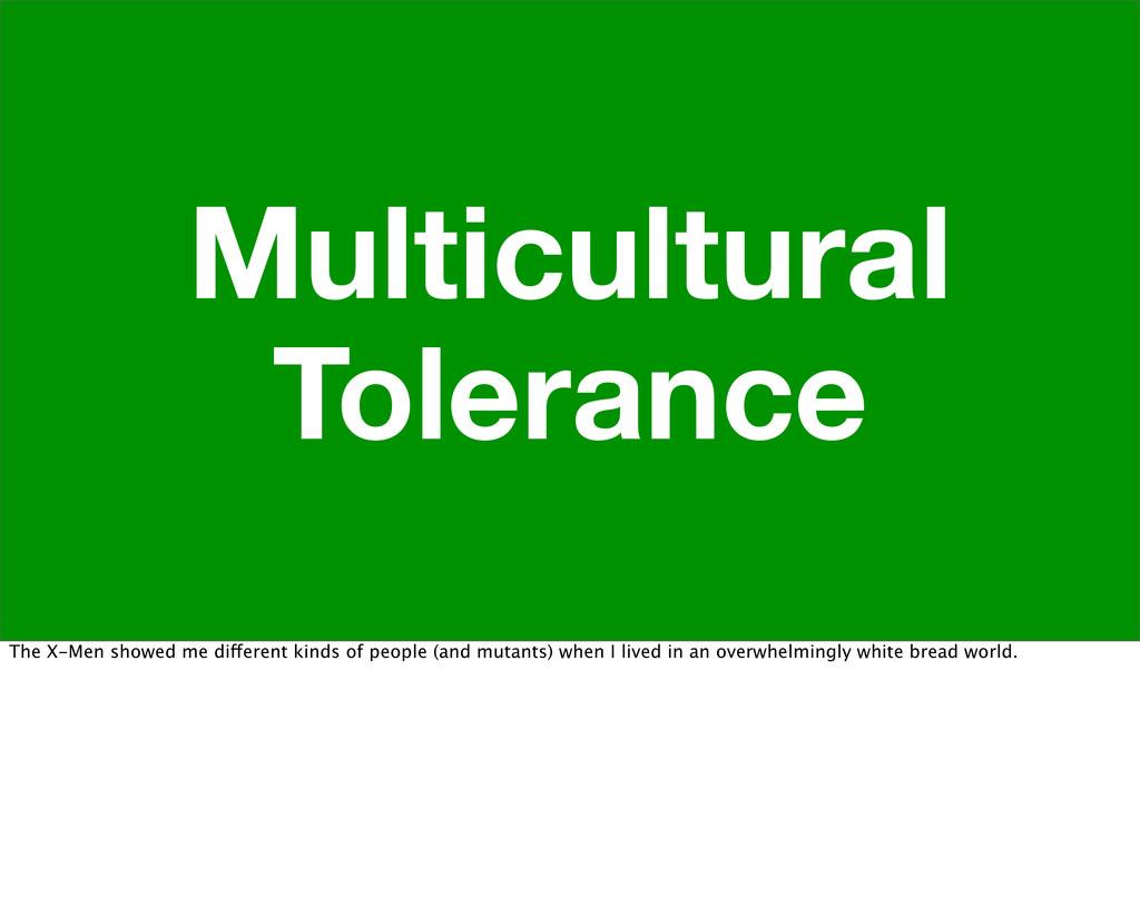 Multicultural Tolerance The X-Men showed me dif...