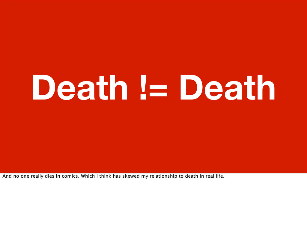 Death != Death And no one really dies in comics...