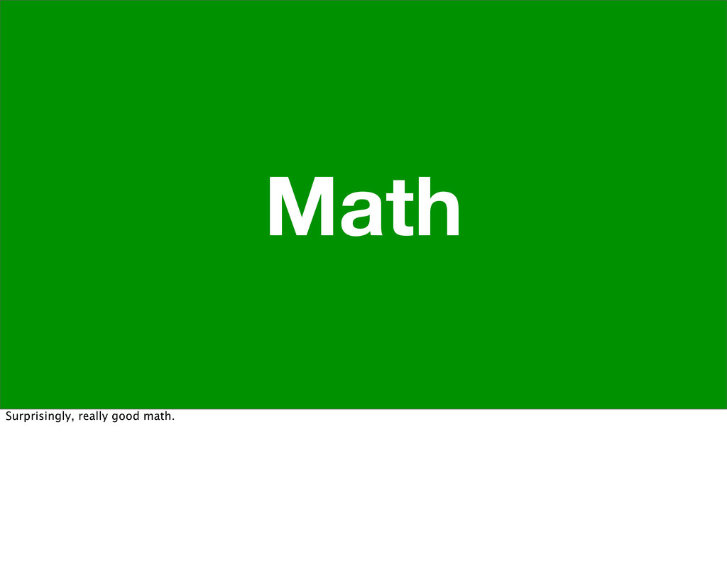 Math Surprisingly, really good math.