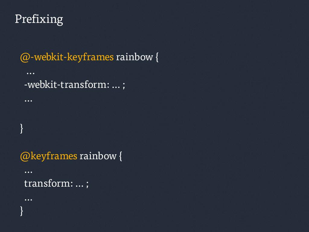 Prefixing @-webkit-keyframes rainbow { ... -web...