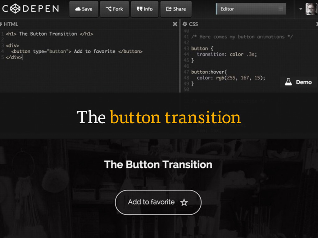 The button transition