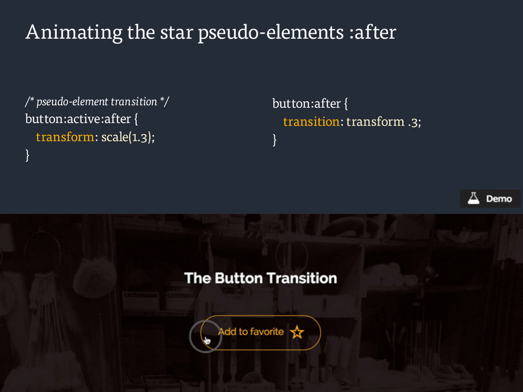 Animating the star pseudo-elements :after /* ps...