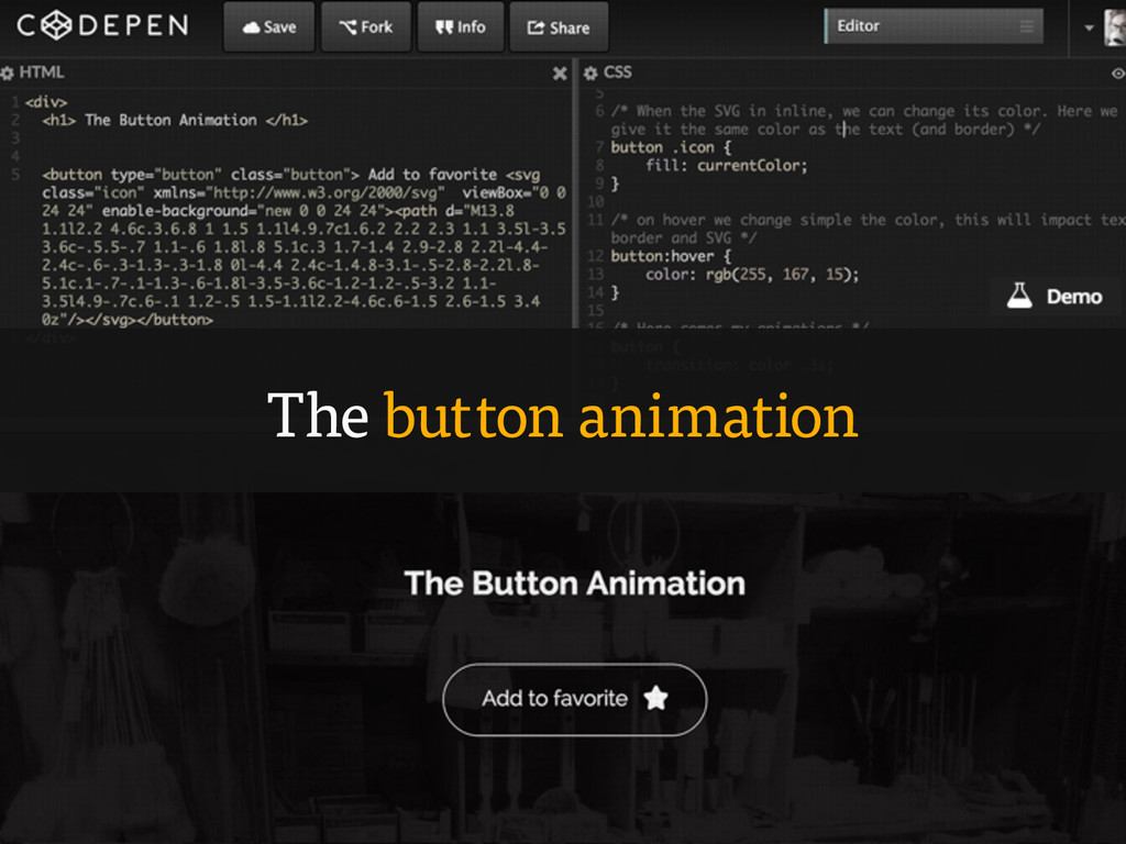 The button animation