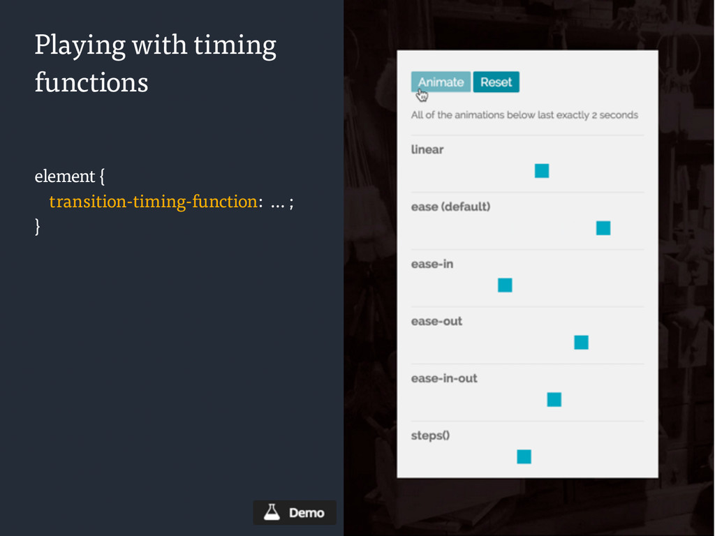 Playing with timing functions element { transit...