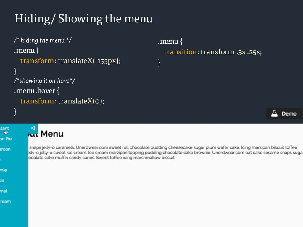 /* hiding the menu */ .menu { transform: transl...