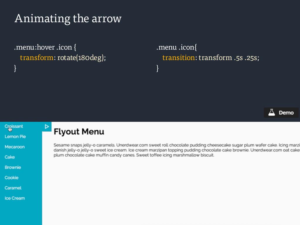 .menu:hover .icon { transform: rotate(180deg); ...