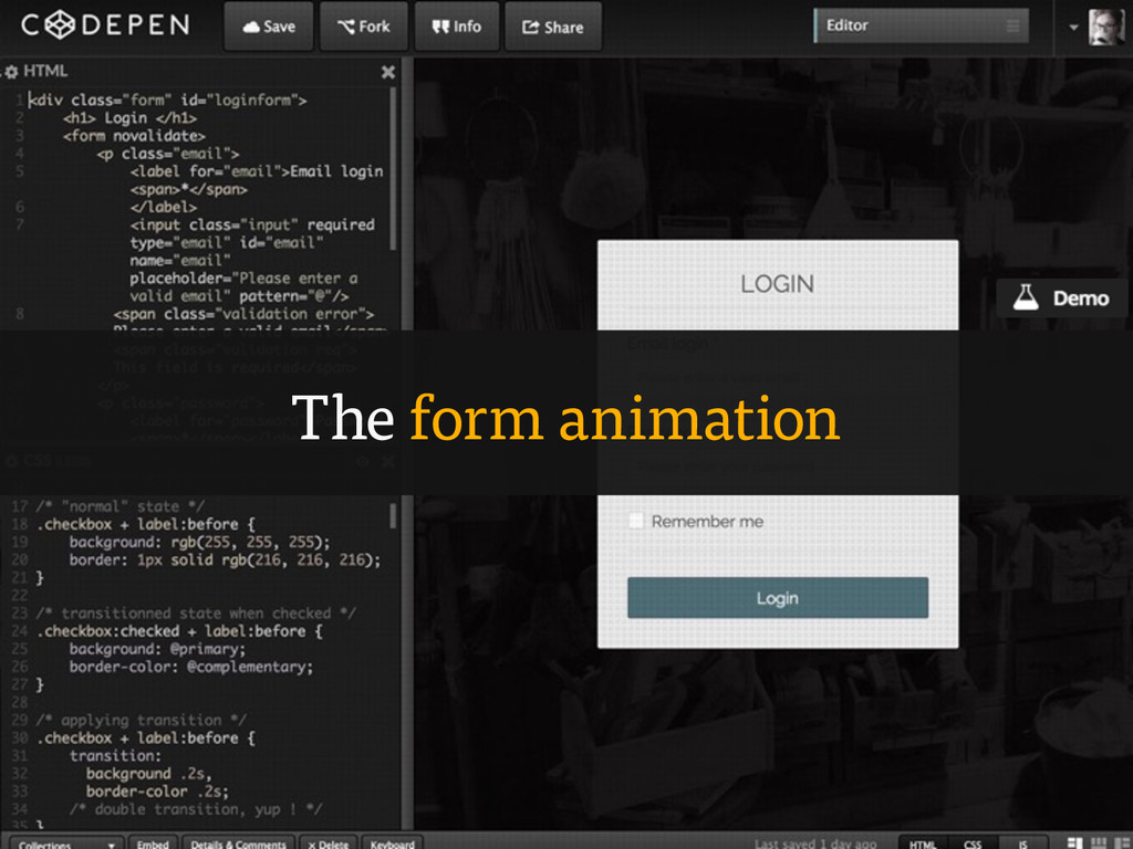 The form animation